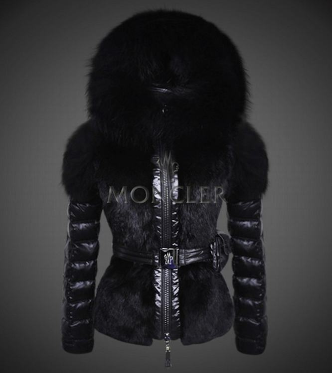 Moncler New One Women Jacket Black With Fur Collar