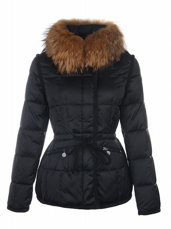 Moncler Pelzkragen Women Jacket Black