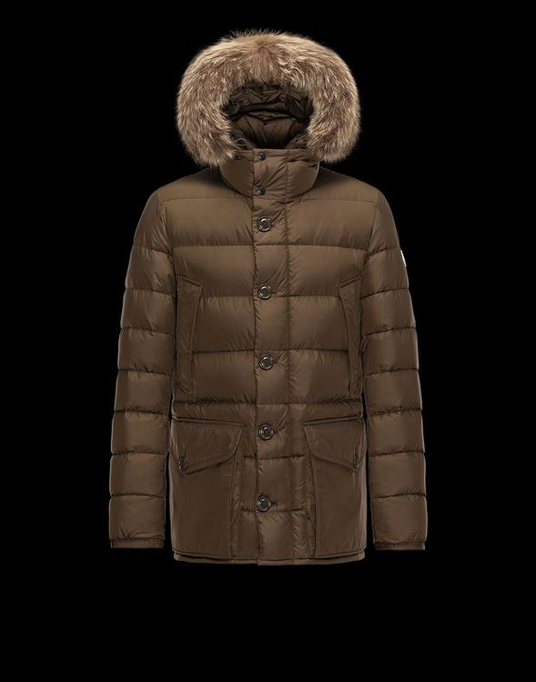 Moncler CLUNY Women Down Jacket With Fur Collar Brown