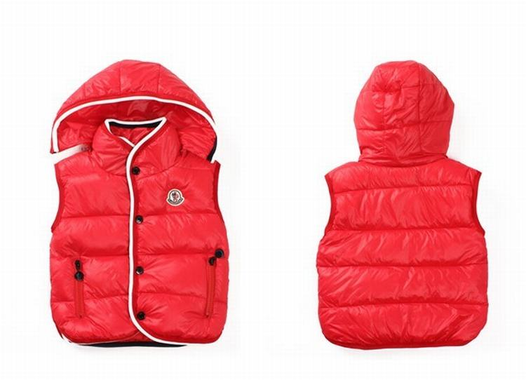 Moncler Down Sleeveless Vest 12 Kids Jacket Red