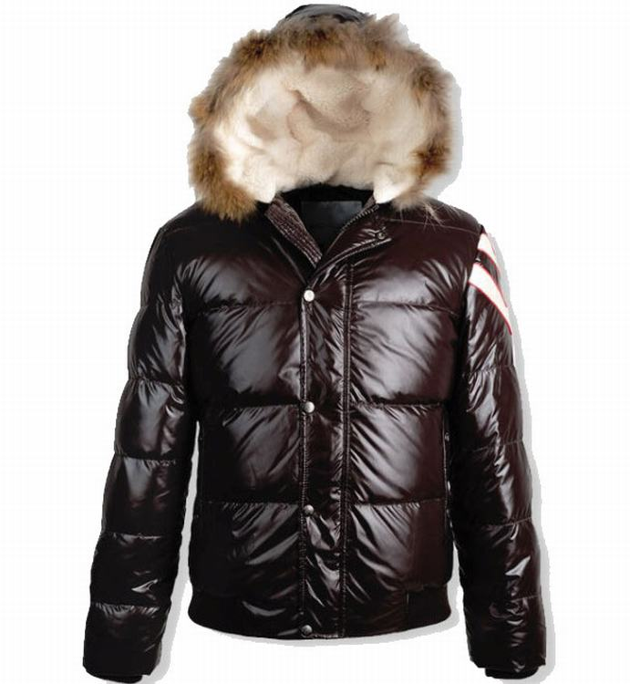 Moncler Alpes Fur Jacket Men Jacket Dark Wine Red