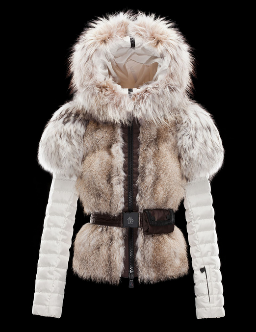 Moncler Short Down Jacket Women With Fox Fur Collar White