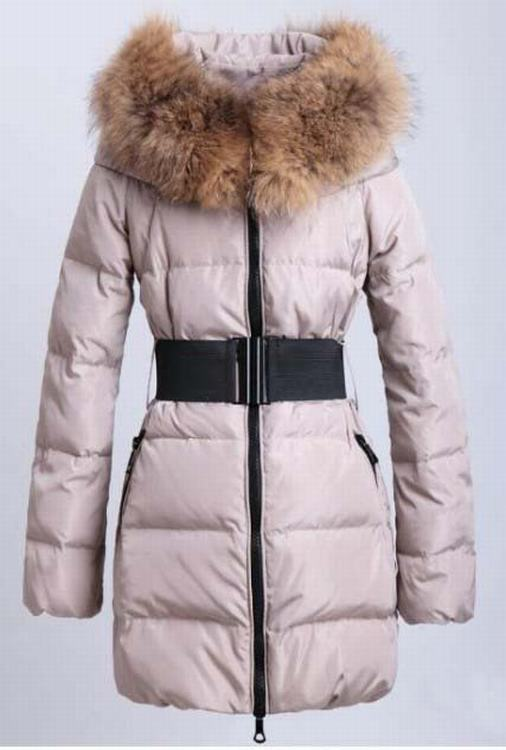 Moncler Sauvage Women Long Jacket Yellowish Light Pink