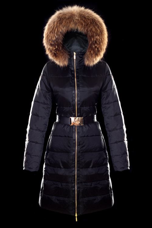 Moncler Nantesfur 02 Long Women Jacket Dark Blue With Fur Collar