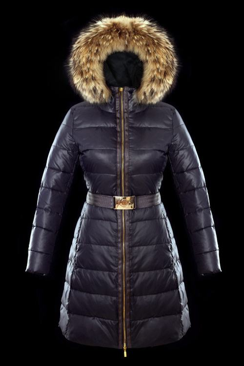 Moncler Nantesfur 02 Long Women Jacket Dark Blue With White Fur Collar