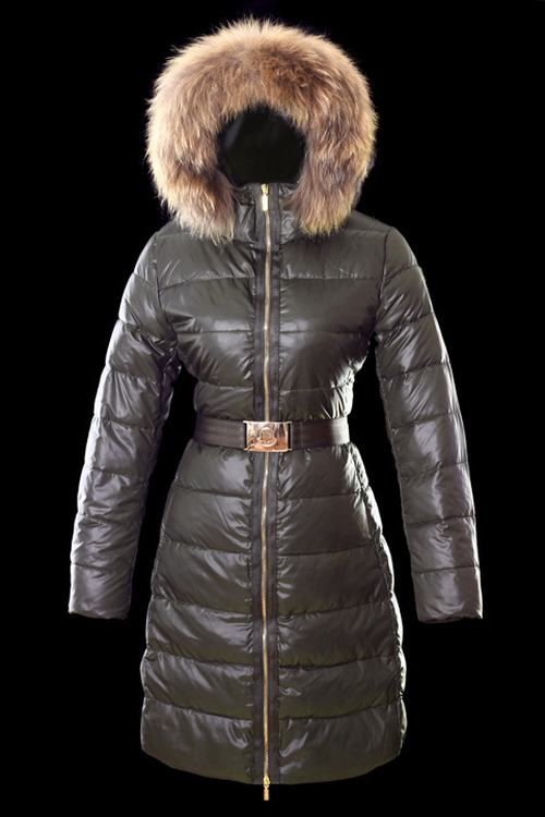 Moncler Nantesfur 02 Long Women Jacket Grey With Fur Collar