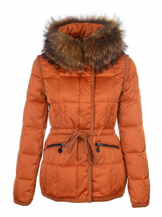 Moncler Pelzkragen Women Jacket Orange