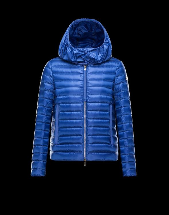 Moncler Villaret Womens Blue Quilted Nylon Down Feather Puffer Short Hood Jacket