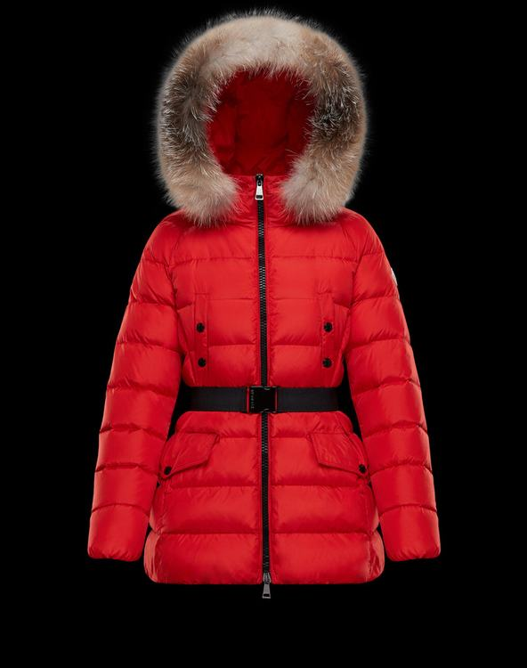 Moncler CLION Women Outerwear With Fur Collar Red