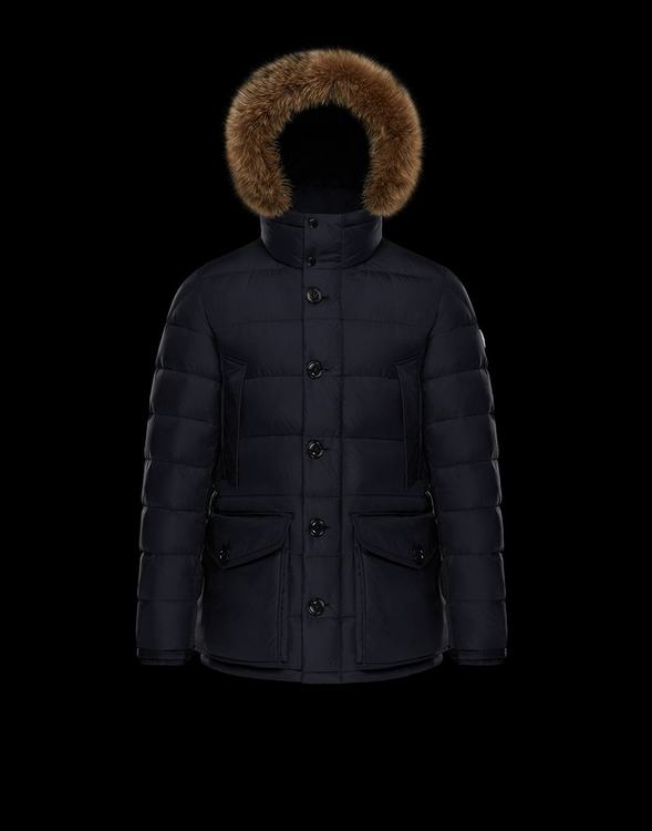 Moncler CLUNY Women Down Jacket With Fur Collar Blue