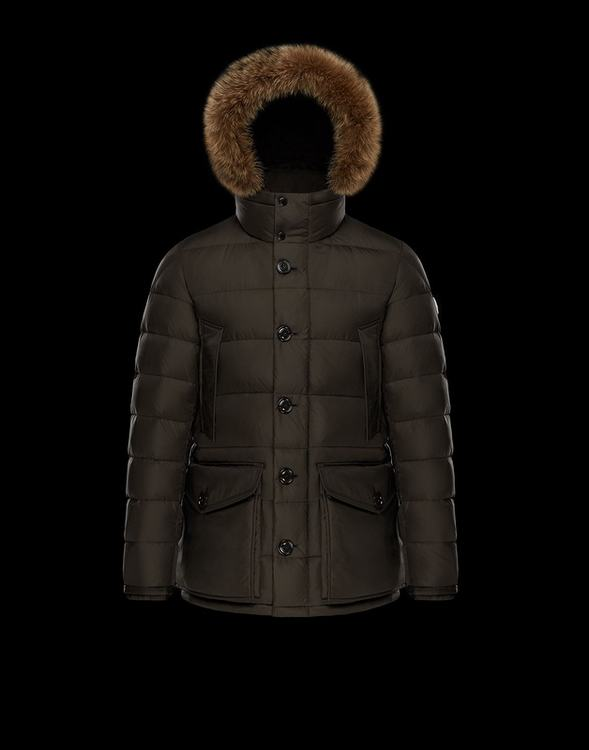 Moncler CLUNY Women Down Jacket With Fur Collar Drak Brown