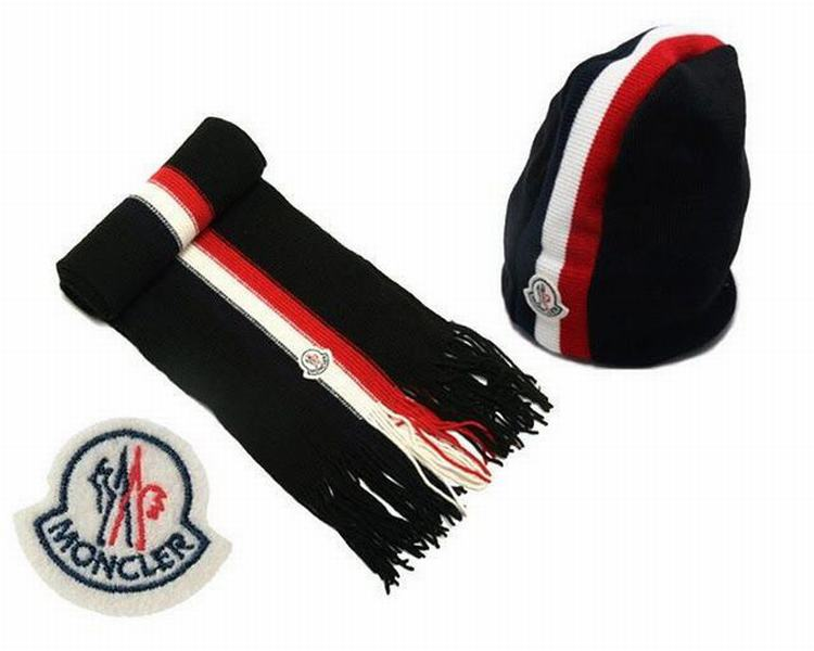 Moncler Unisex Scarfs and Hats Black