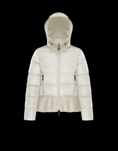 Moncler Nesea Women White W Quilted Puffer Jacket W Wool Trim Jacket